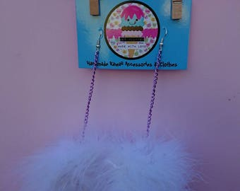 White marabou puff earrings