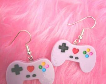 Purple game controller  earrings