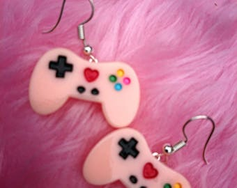 Pink game controller  earrings
