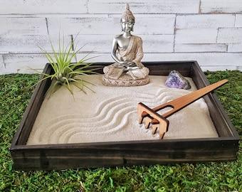 Zen Garden   Tabletop Dry landscape Kit   Buddha Statue Meditation Garden Box  Crystal  Japanese Sand Accessory  Karesansui  Air Plant Decor