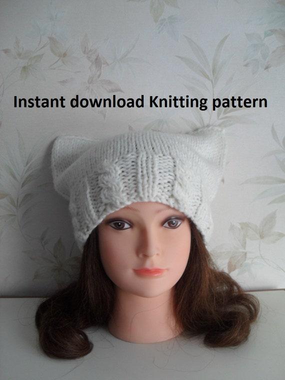 Instant Download Knitting Pattern Cat Ear Hat Knitting Etsy