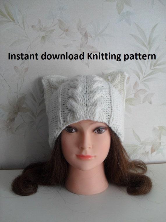 c34e324ecdd Instant Download knitting pattern Cat ear hat knitting