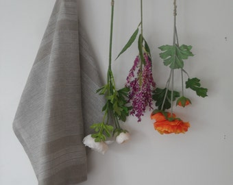 Natural linen towel handmade gray/tea towel/kitchen linen 50x67 cm