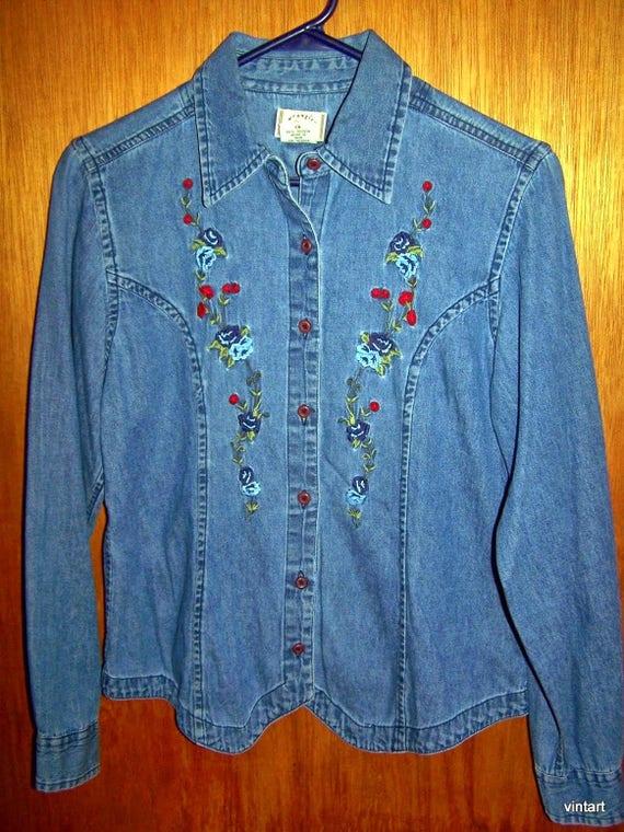 f72f4fe2e491 Vtg 60s WRANGLER DENIM Blue Jean Shirt BLOUSE Floral Navy Blue