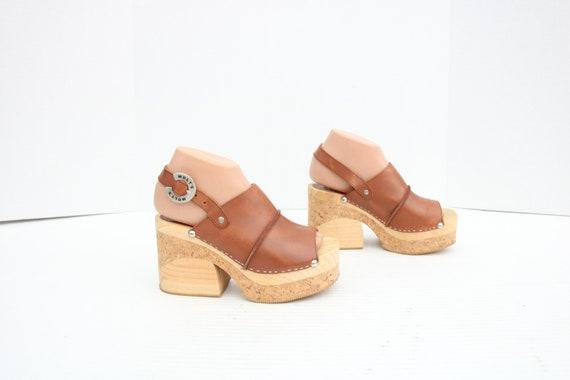 MOLT'S CLOGS Spain Cork Wooden Heels Platform Sand