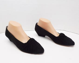 JOAN AND DAVID women black loafer slip on suede shoes size 10
