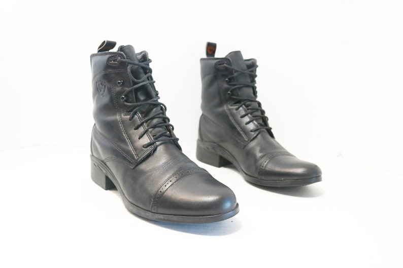 famous brand later top design Ariat Paddock riding Black women Roper lace up boots size 8.5