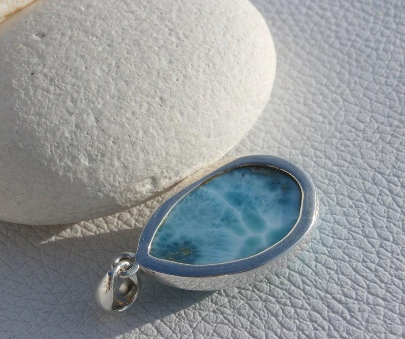 Larimar Stone Pendant In Sterling Silver 925 Larimar Stone Handmde Jewelry