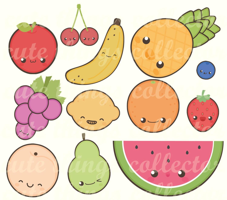 SALE 12 Digital Fruits Clipart Cute Kawaii Stickers ...