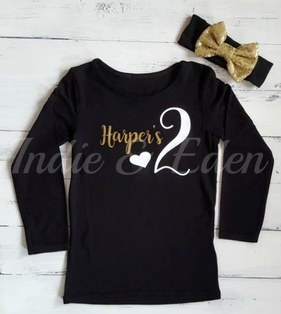 47f95110e 2nd Birthday Two Baby Gold Black Girls T Shirt Tshirt Top Cake