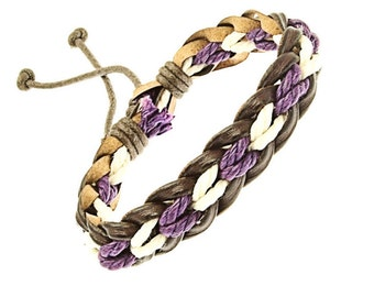Plaited Leather And Cord Strap Bracelet In White And Purple - 245