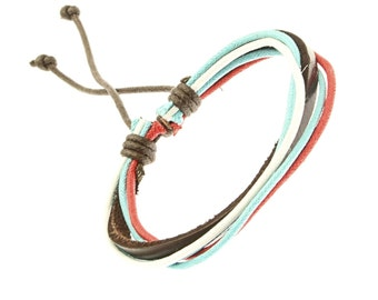 Leather And Cord Strap Bracelet In Blue, Red And White - 252