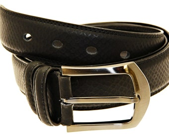 Men's Quality Black Leather Belt In Gift Box (Style No.16).