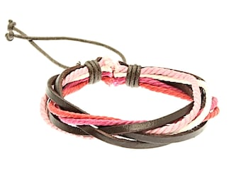 Leather And Cord Strap Bracelet In White And Pink - 247
