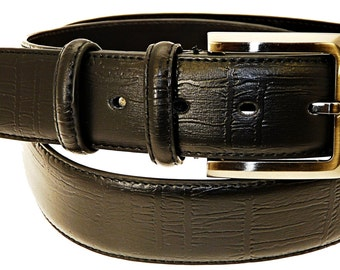 Men's Quality Black Leather Belt In Gift Box (Style No.23).