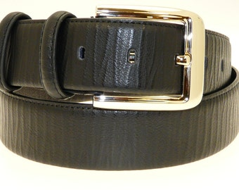 Men's Quality Black Leather Belt In Gift Box (Style No.6003).