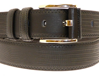 Men's Quality Black Leather Snake/Crocodile Skin Effect Belt In Gift Box (Style No.6001).