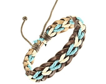 Plaited Leather And Cord Strap Bracelet In White And Turquoise - 246