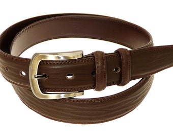 Men's Quality Brown Leather Belt In Gift Box (Style No.14).