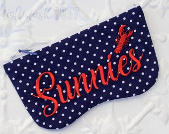 Sunnies Case with Lobster embroidery on vintage blue polka dot cotton
