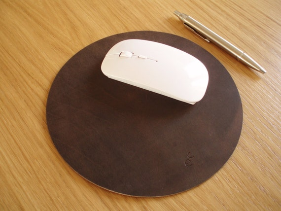leather mousepad mouse pad circular leather mouse pad round etsy
