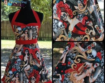Day of the Dead Retro Apron