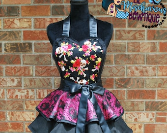Roses and Skulls Retro Apron