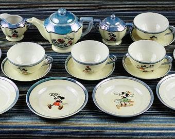 Vintage Mickey Mouse Blue Lustreware Childs Tea Set