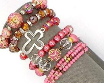 Pink boho bracelet stack, stretch bracelet, bead bracelet, boho bracelet set, wire wrap bracelet, beaded wire wrap bracelet, Kashmiri