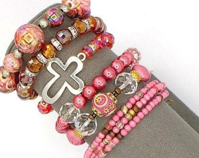 Handmade Beaded Pink Theme Chunky BoHo Bracelet Stack