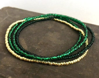 Sparkle Green & Gold Boho Dainty Seed Bead Stretch Bracelet Set, Handmade Beaded Stretch Bracelet, Gifts for Her Gifts for Him