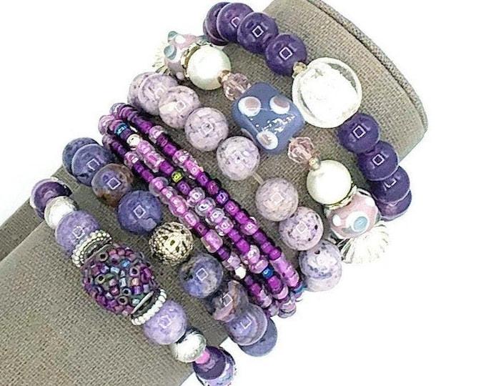 Handmade Beaded Purple Theme Chunky BoHo Bracelet Stack