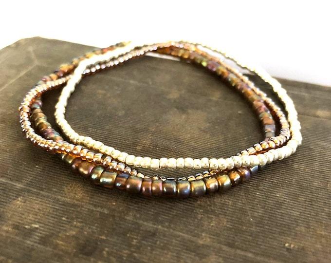 Handmade Beaded Earth Tone Bracelet Set