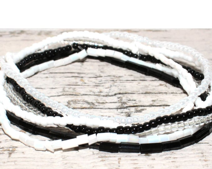 Black & White Handmade Beaded Single Dainty Bracelets