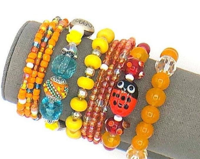 Handmade Beaded Ladybug Chunky BoHo Bracelet Stack