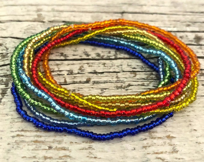 Handmade Beaded Rainbow Bright Bracelets