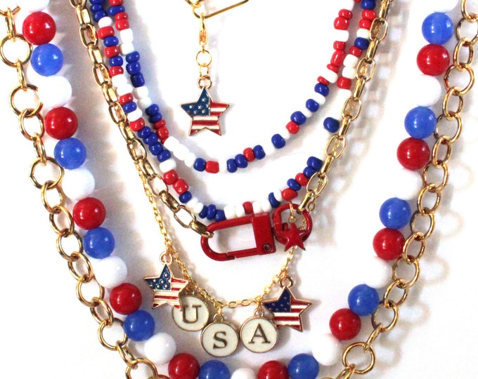 Red White & Blue Patriotic BoHo Neck Mess Layered Necklace Set, neck stack, neck party, multi-layered necklace gold chain and beaded set