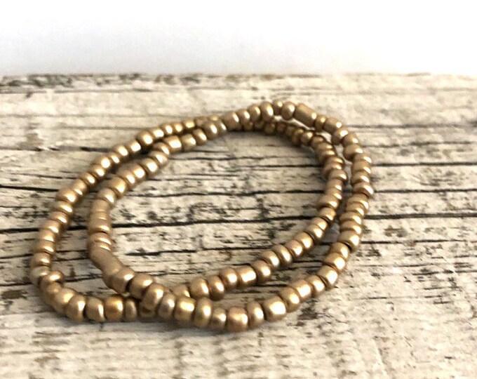 Handmade Beaded Gold Bracelet Set