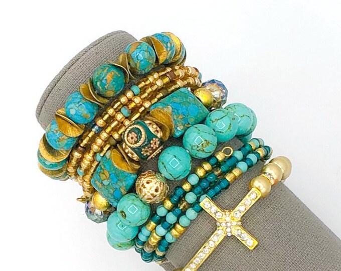 Handmade Beaded Turquoise & Gold Chunky BoHo Bracelet Stack