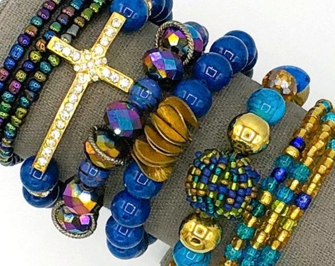 Handmade Beaded Blue Theme Chunky BoHo Bracelet Stack