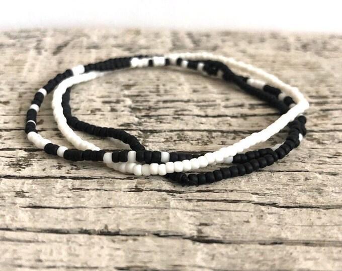 Handmade Beaded Black & White Matte Bracelet Set