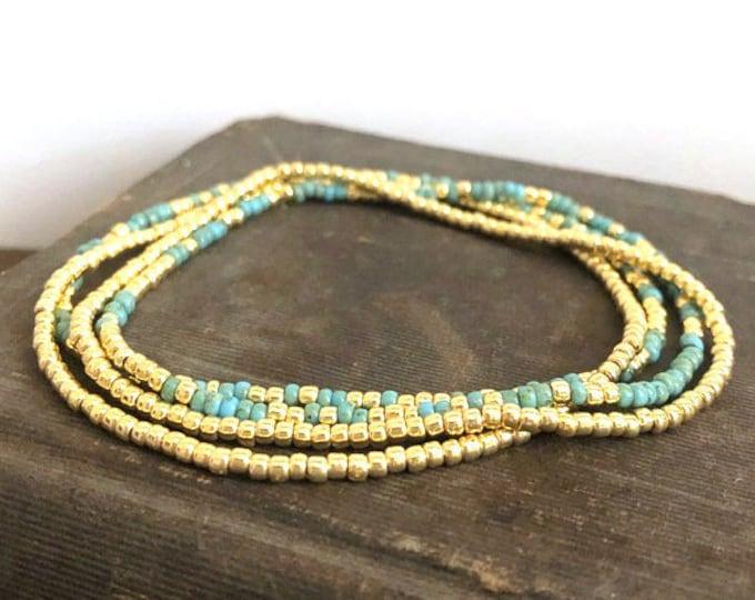 Handmade Beaded Picasso & Gold Bracelet Set