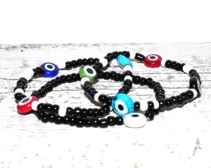 Handmade Beaded Evil Eye Bracelet Set