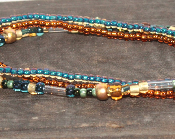Handmade Beaded Blue Topaz Bracelet Set