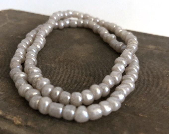 Handmade Beaded Gray Pearl Finish Bracelet Set