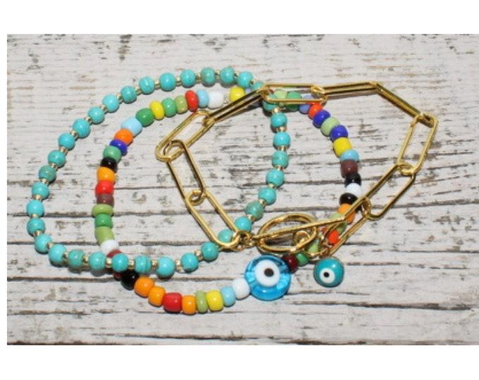 Handmade Rainbow Gold Spiritual & Whimsical BoHo Bracelet Set