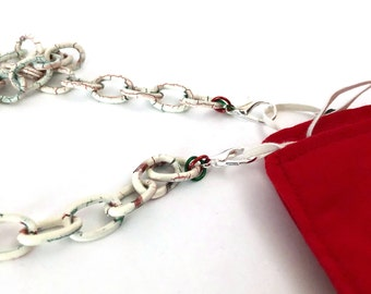 Stylish Chunky White w/Red & Green Accents WhiteFace Mask Holder, Face Mask Lanyard, Face Mask Necklace, Chain Face Mask Holder, Mask Chain