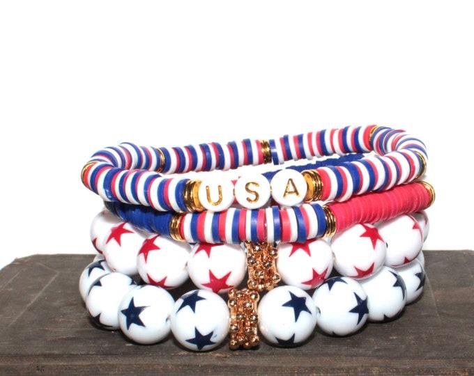 Red White & Blue Patriotic SINGLE Chunky BoHo Bracelet Stack, boho bracelet set, stretch bracelet, bead bracelet, beaded  bracelet, Heishi