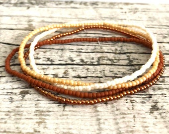 Sunset Shade Boho Dainty Seed Bead Stretch Bracelet Set, Handmade Beaded Stretch Bracelet, Gifts for Her Gifts for Him
