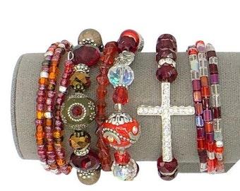 Red boho bracelet stack, stretch bracelet, bead bracelet, boho bracelet set, wire wrap bracelet, beaded wire wrap bracelet, Kashmiri